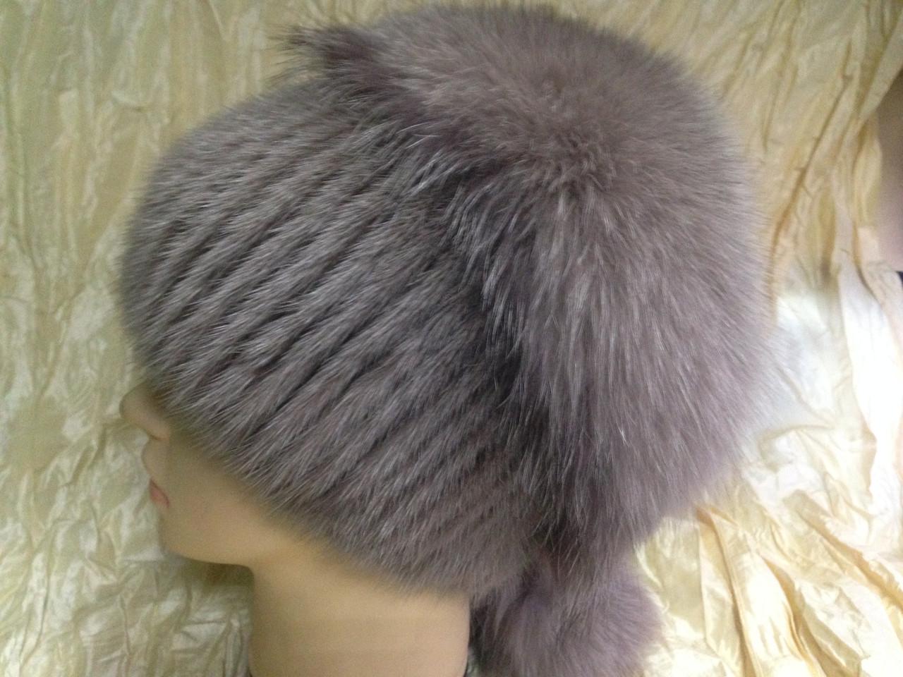 Меховая шапка из норки и песца на вязанной основе