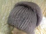 Меховая шапка из норки и песца на вязанной основе, фото 2