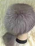 Меховая шапка из норки и песца на вязанной основе, фото 3