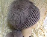 Меховая шапка из норки и песца на вязанной основе, фото 4