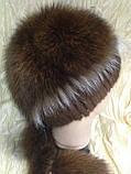 Меховая шапка из норки и песца на вязанной основе цвет коричневый, фото 3