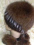 Меховая шапка из норки и песца на вязанной основе цвет коричневый, фото 4