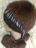 Меховая шапка из норки и песца на вязанной основе цвет коричневый, фото 5