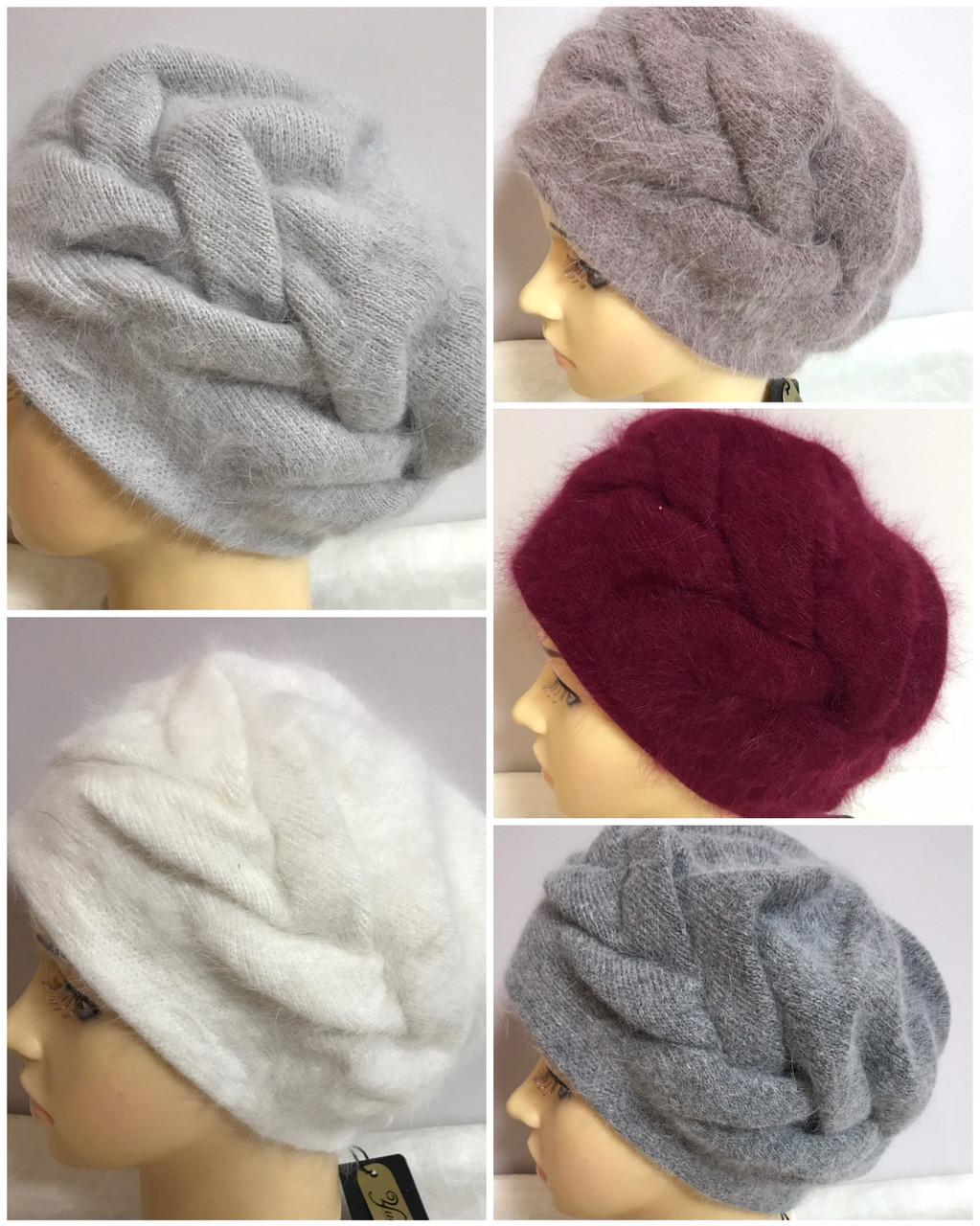 Зимняя объёмная шапка -берет с крупным рисунком  из ангоры
