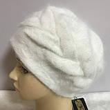 Зимняя объёмная шапка -берет с крупным рисунком  из ангоры, фото 2