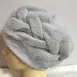 Зимняя объёмная шапка -берет с крупным рисунком  из ангоры, фото 4
