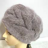 Зимняя объёмная шапка -берет с крупным рисунком  из ангоры, фото 5
