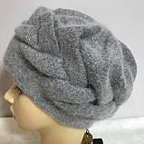 Зимняя объёмная шапка -берет с крупным рисунком  из ангоры, фото 6