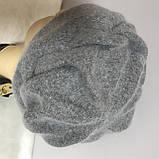 Зимняя объёмная шапка -берет с крупным рисунком  из ангоры, фото 7