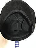 Кепка мужская чёрная из драпа воьмиклинка с ушами  размер 56 57 58 59 60 58 59 60, фото 3