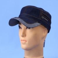 Кепка немка мужская из джинсы на флисе синяя  56