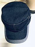 Кепка немка мужская из джинсы на флисе синяя  56, фото 7