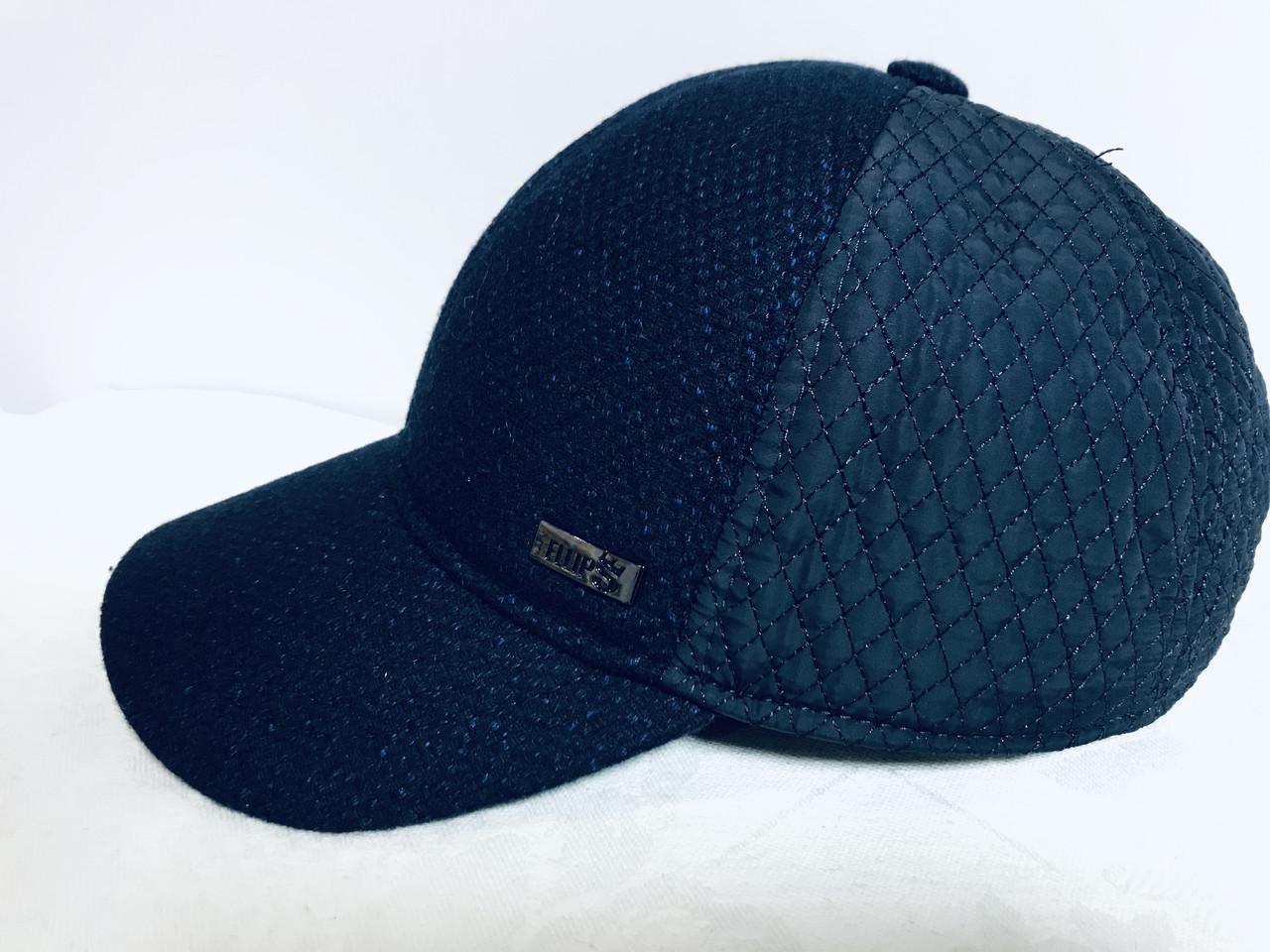 Бейсболка из шерстяного драпа и плащёвки размер 56-58 -60 цвет синий и чёрный