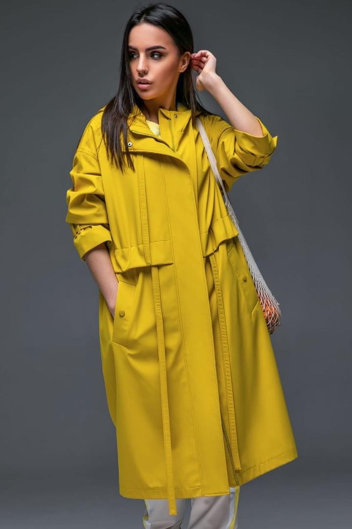 Женский плащ-тренч «Трикси  с капюшоном  S M L желтый салатовый и сиреневый