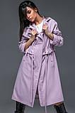 Женский плащ-тренч «Трикси  с капюшоном  S M L желтый салатовый и сиреневый, фото 8
