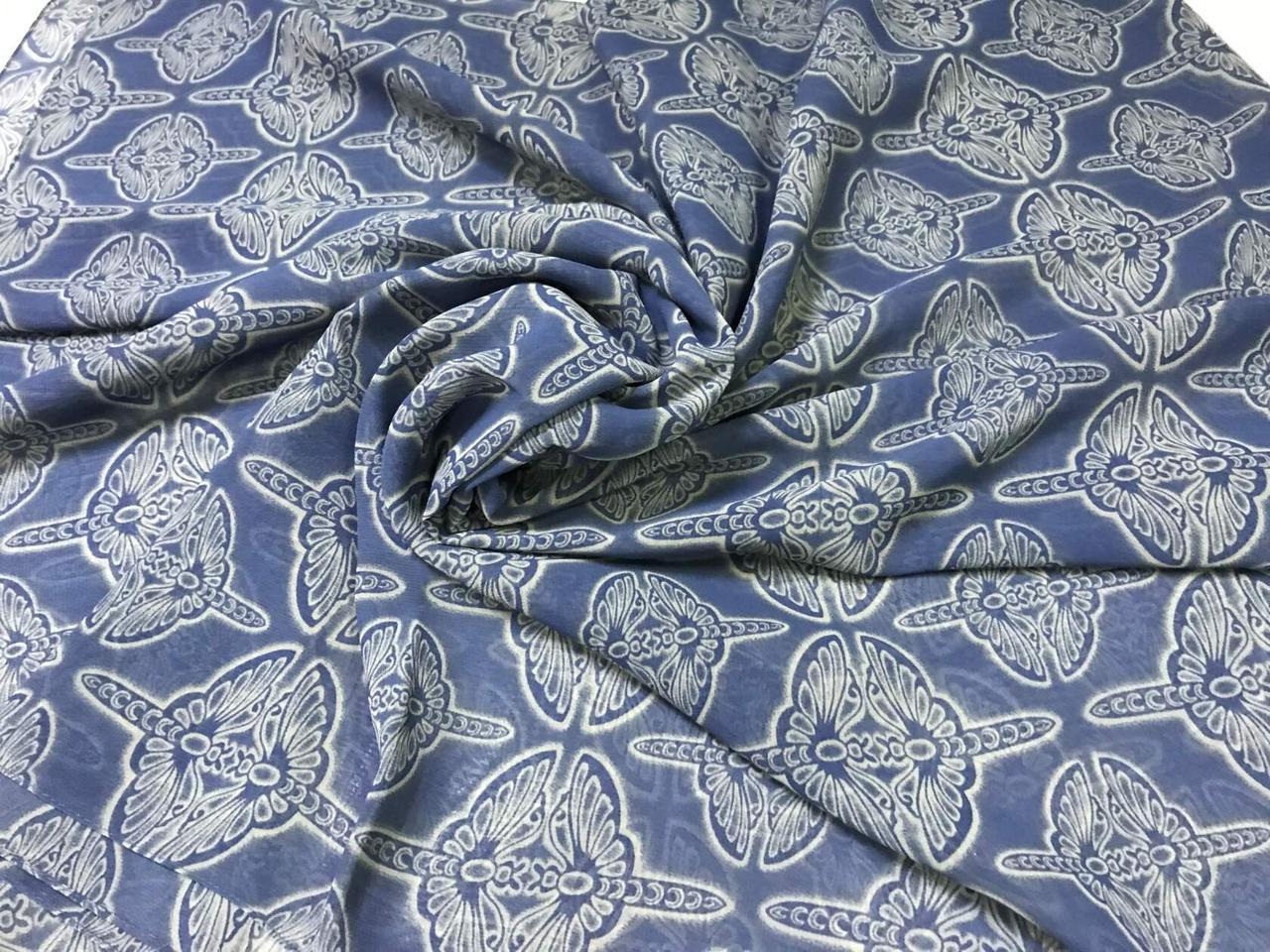 Синий женский шарф-палантин шифон  174х75 см  с рисунком