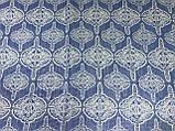 Синий женский шарф-палантин шифон  174х75 см  с рисунком, фото 2