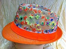 Шляпа  федора из соломки и сетки с вышивкой