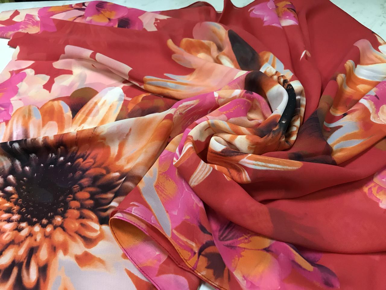 Женский красный шарф-палантин шифон  174х75 см рисунок цветы