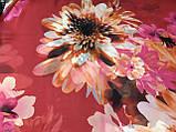 Женский красный шарф-палантин шифон  174х75 см рисунок цветы, фото 2