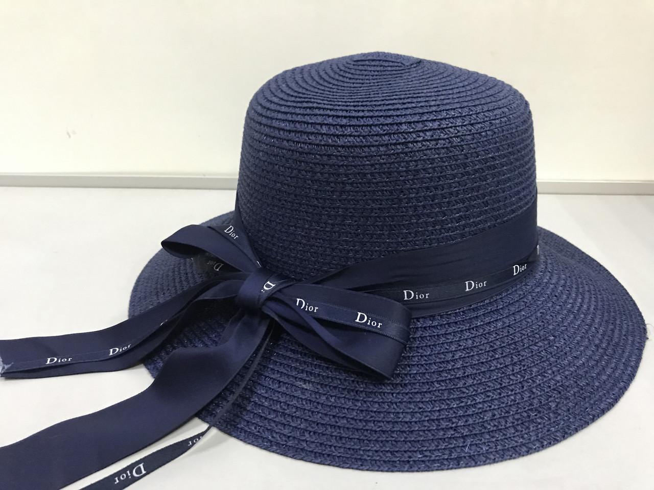 Шляпа  синяя и бежевая из рисовой соломки с бантом и лентой с брендовой надписью