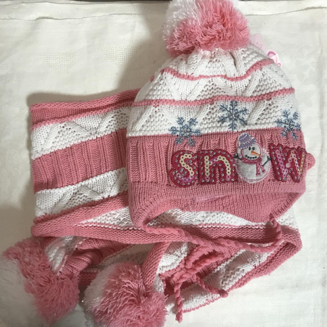 Комплект  детская шапочка + шарфик двойная от года до3 лет
