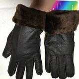 Перчатки женские и подросток из натуральной овчины коричневый, фото 2