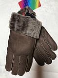 Перчатки женские и подросток из натуральной овчины коричневый, фото 5