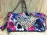Молодёжная стильная  цветная сумка-клатч с жемчуженнами, фото 2