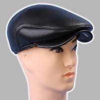 Мужская кепка чёрная из натур кожи 56 57 59 60