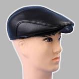 Мужская кепка чёрная из натур кожи 56 57 59 60, фото 2