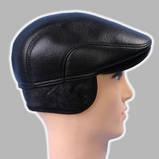 Мужская кепка чёрная из натур кожи 56 57 59 60, фото 3