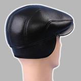 Мужская кепка чёрная из натур кожи 56 57 59 60, фото 5