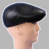 Мужская кепка чёрная из натур кожи 56 57 59 60, фото 6