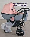 Детская коляска 2 в 1 Classik (Классик) Victoria Gold эко кожа серая с розовый, фото 2