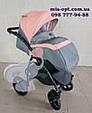 Детская коляска 2 в 1 Classik (Классик) Victoria Gold эко кожа серая с розовый, фото 3