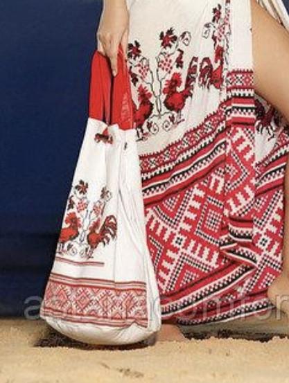 Сумка-рюкзак пляжная украинский орнамент