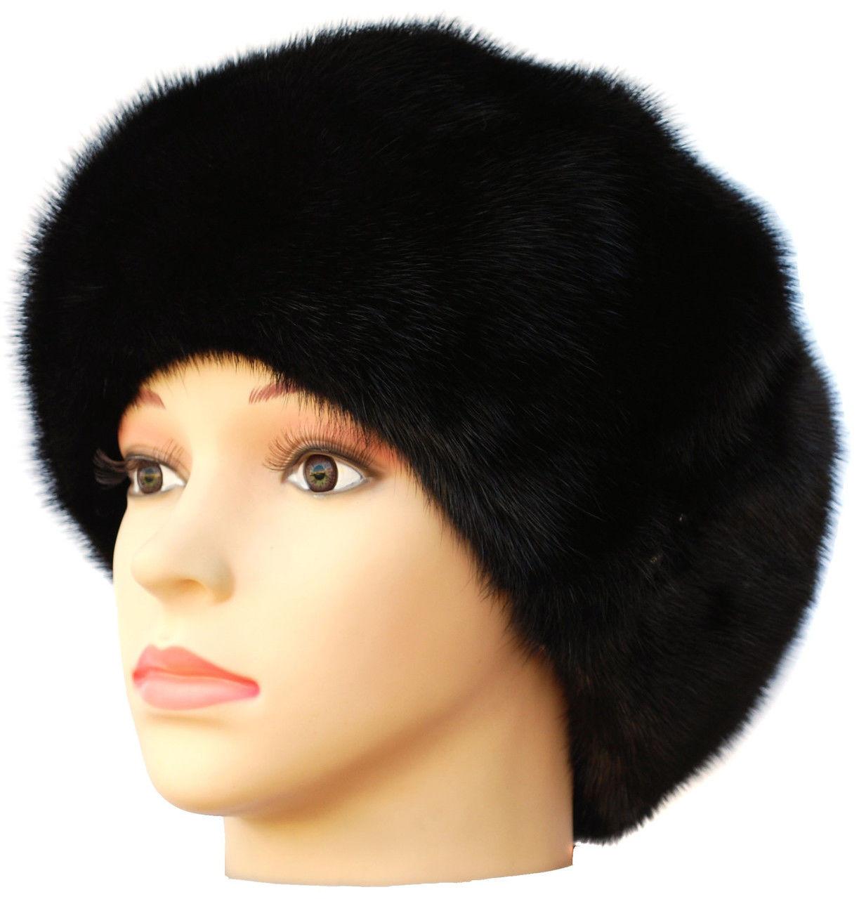"""Черная норковая  шапка модель """"конфетка  Мальвина"""""""