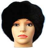 """Черная норковая  шапка модель """"конфетка  Мальвина"""", фото 2"""