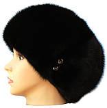 """Черная норковая  шапка модель """"конфетка  Мальвина"""", фото 3"""
