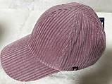 Розовая бейсболка из мелкого вельвета (57-59), фото 2