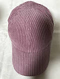 Розовая бейсболка из мелкого вельвета (57-59), фото 3