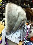Стильная  меховая норковая косынка серо-голубого цвета, фото 3