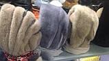 Стильная  меховая норковая косынка серо-голубого цвета, фото 5