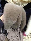 Стильная  меховая норковая косынка серо-голубого цвета, фото 6
