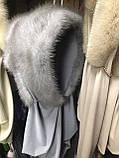 Стильная  меховая норковая косынка серо-голубого цвета, фото 8