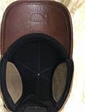 Бейсболка комбинированная из коричневой и рыжий натур  замши и кожи 56, фото 2