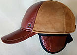 Бейсболка комбинированная из коричневой и рыжий натур  замши и кожи 56, фото 5