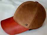 Бейсболка комбинированная из коричневой и рыжий натур  замши и кожи 56, фото 7