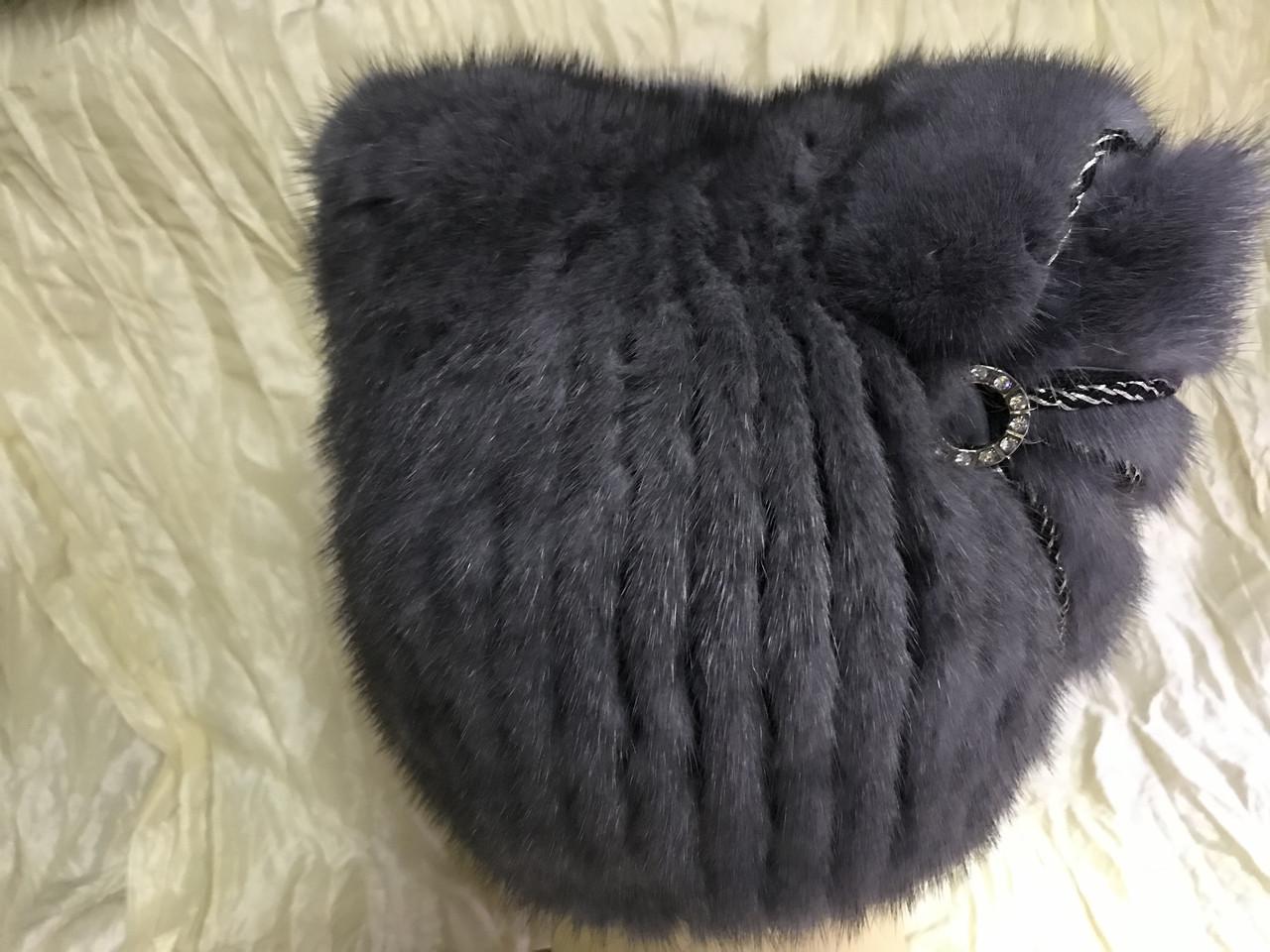 Шапка из норки кошка с ушками и бантом